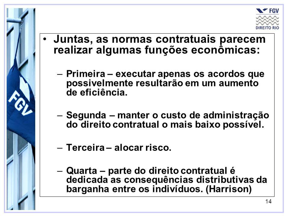 14 Juntas, as normas contratuais parecem realizar algumas funções econômicas: –Primeira – executar apenas os acordos que possivelmente resultarão em um aumento de eficiência.