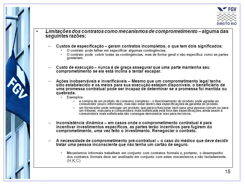 15 Limitações dos contratos como mecanismos de comprometimento – alguma das seguintes razões: –Custos de especificação – geram contratos incompletos, o que tem dois significados: O contrato pode falhar em especificar algumas contingências.