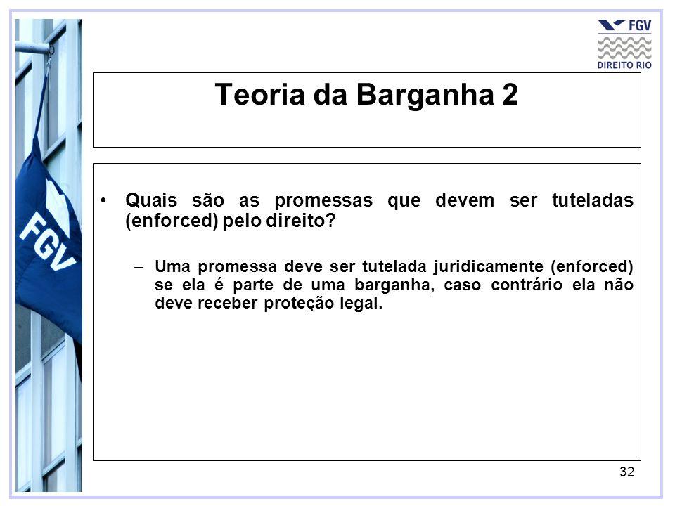 32 Teoria da Barganha 2 Quais são as promessas que devem ser tuteladas (enforced) pelo direito.