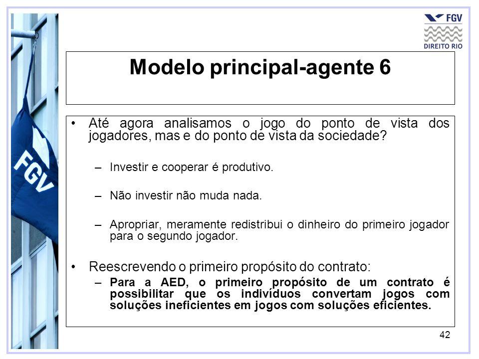 42 Modelo principal-agente 6 Até agora analisamos o jogo do ponto de vista dos jogadores, mas e do ponto de vista da sociedade.