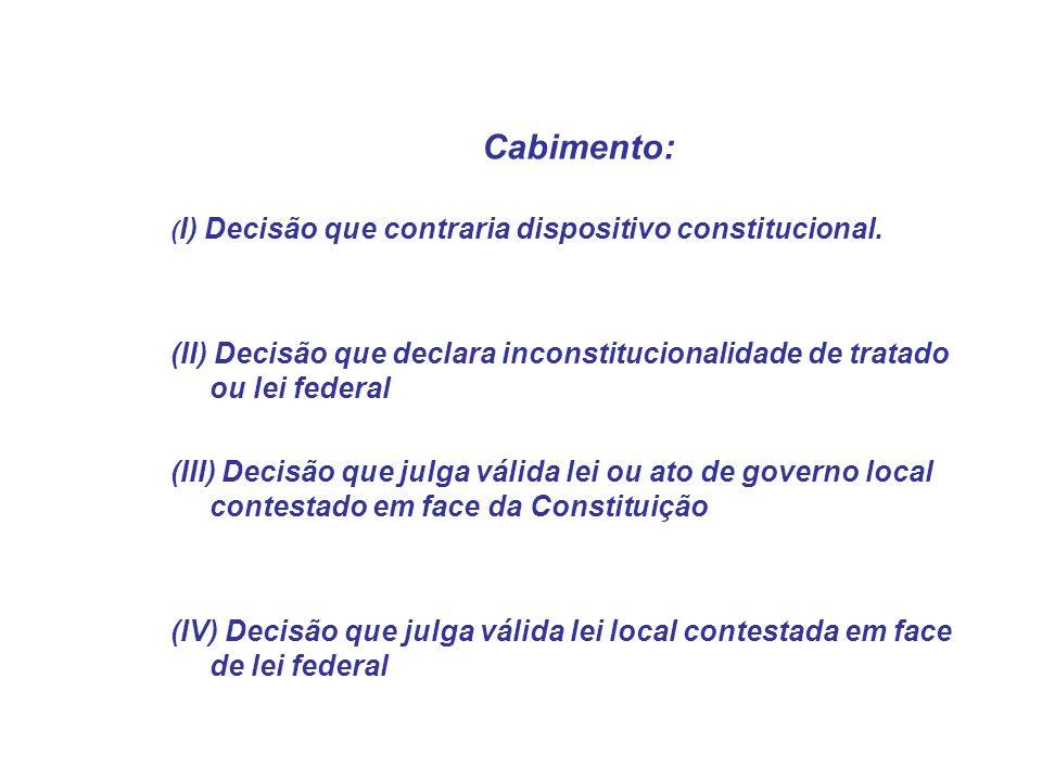 Cabimento: ( I) Decisão que contraria dispositivo constitucional. (II) Decisão que declara inconstitucionalidade de tratado ou lei federal (III) Decis