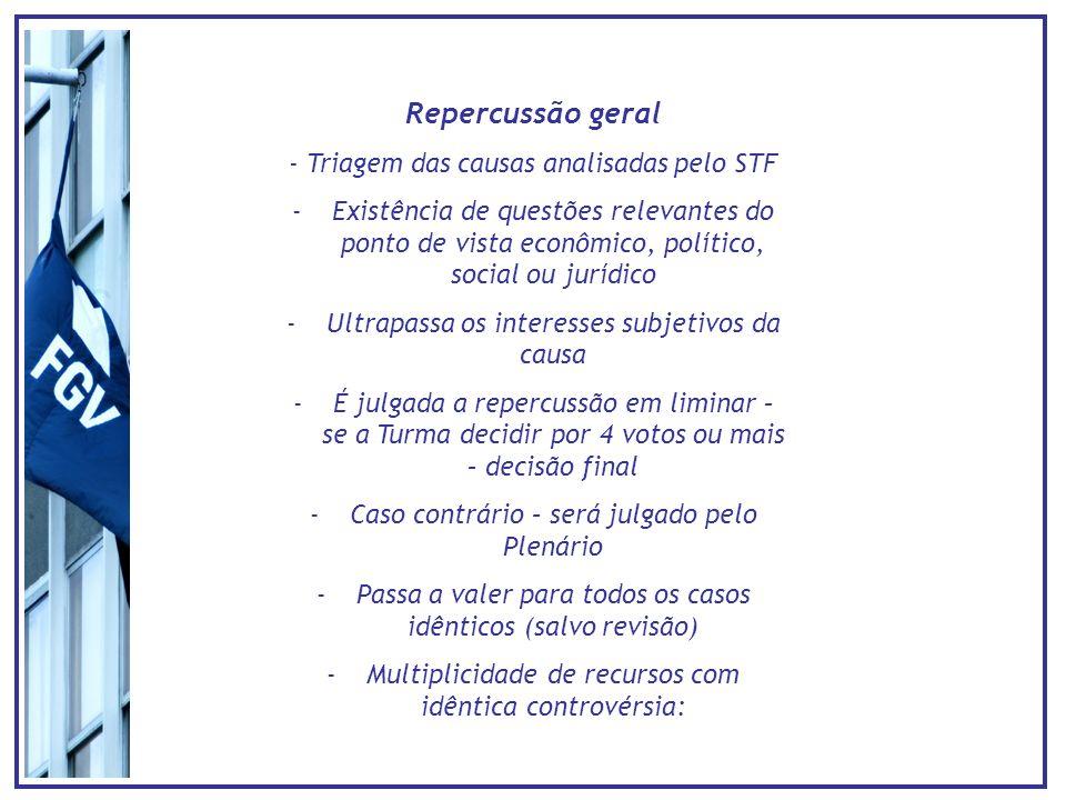 Repercussão geral - Triagem das causas analisadas pelo STF -Existência de questões relevantes do ponto de vista econômico, político, social ou jurídic