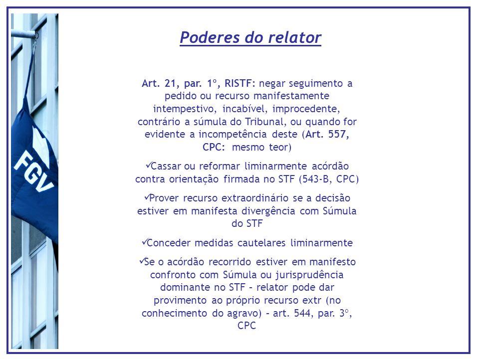 Poderes do relator Art. 21, par. 1º, RISTF: negar seguimento a pedido ou recurso manifestamente intempestivo, incabível, improcedente, contrário a súm