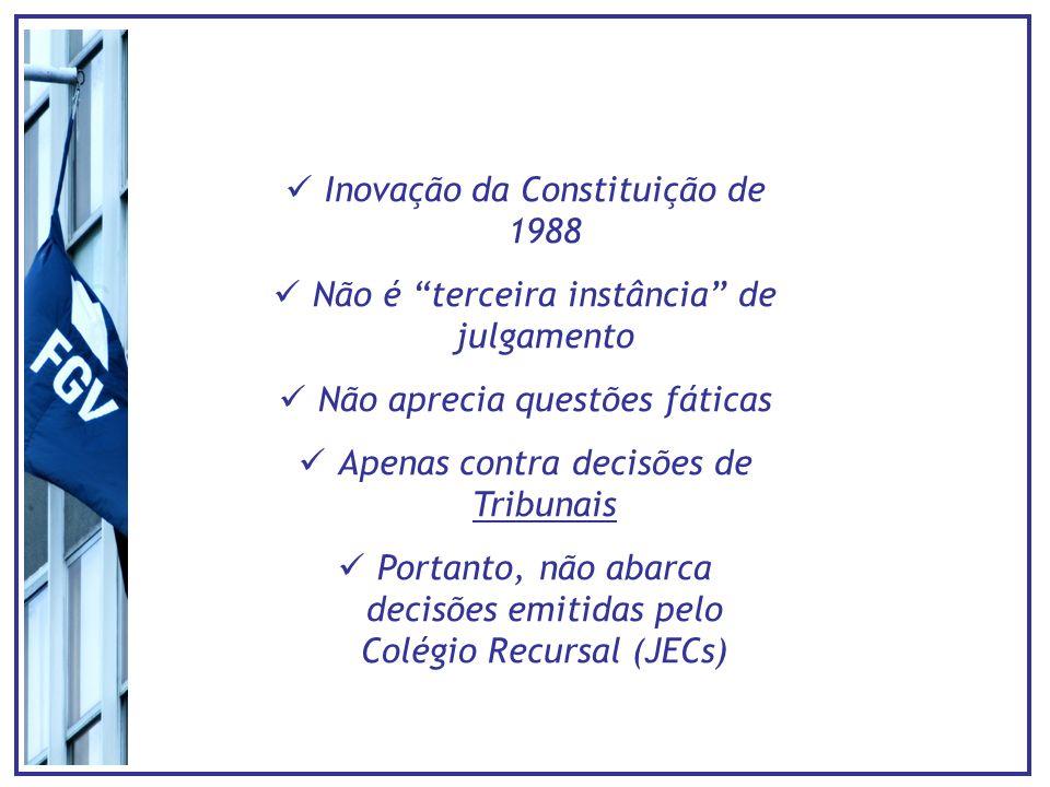 Inovação da Constituição de 1988 Não é terceira instância de julgamento Não aprecia questões fáticas Apenas contra decisões de Tribunais Portanto, não abarca decisões emitidas pelo Colégio Recursal (JECs)