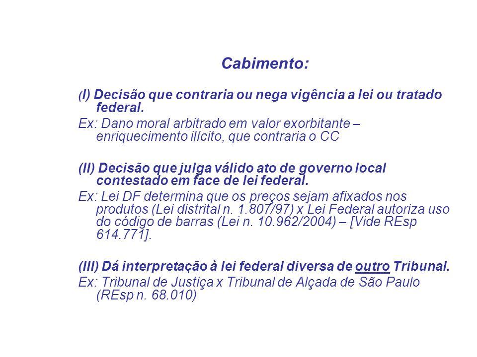 Cabimento: ( I) Decisão que contraria ou nega vigência a lei ou tratado federal. Ex: Dano moral arbitrado em valor exorbitante – enriquecimento ilícit