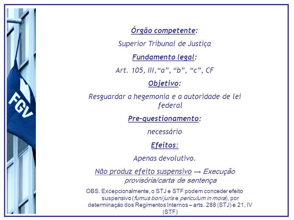 Órgão competente: Superior Tribunal de Justiça Fundamento legal: Art.