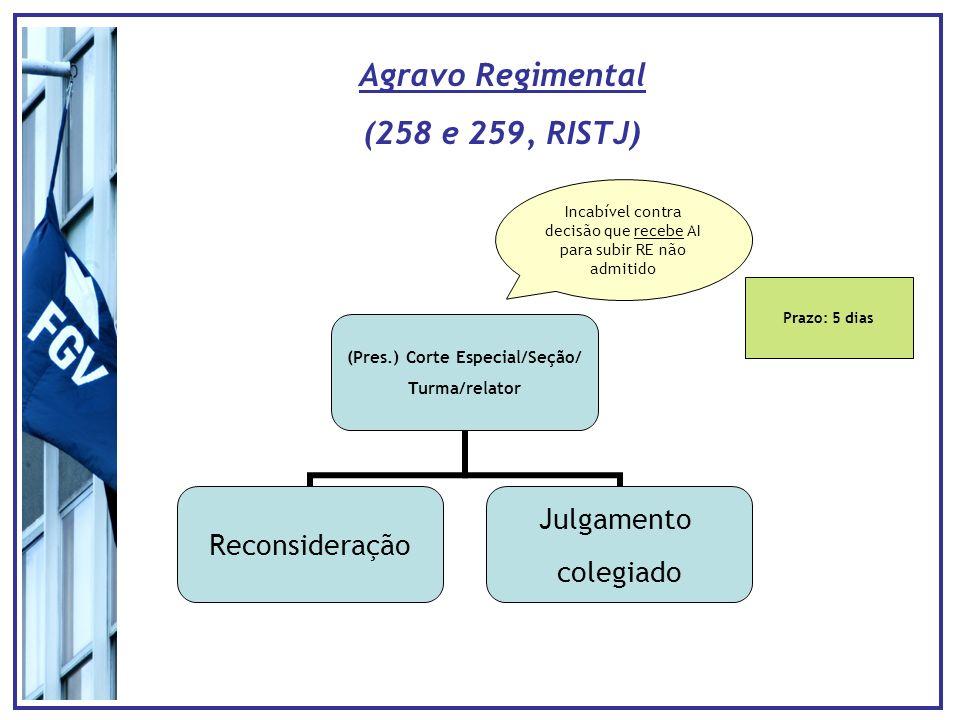 Prazo: 5 dias Agravo Regimental (258 e 259, RISTJ) Incabível contra decisão que recebe AI para subir RE não admitido (Pres.) Corte Especial/Seção/ Turma/relator Reconsideração Julgamento colegiado