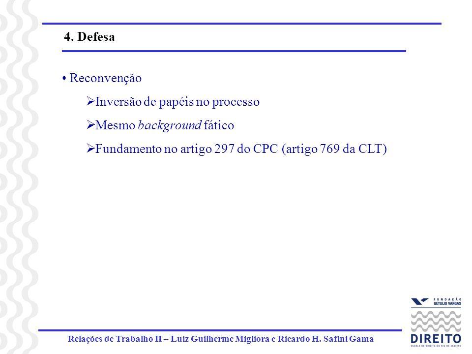 Relações de Trabalho II – Luiz Guilherme Migliora e Ricardo H. Safini Gama 4. Defesa Reconvenção Inversão de papéis no processo Mesmo background fátic