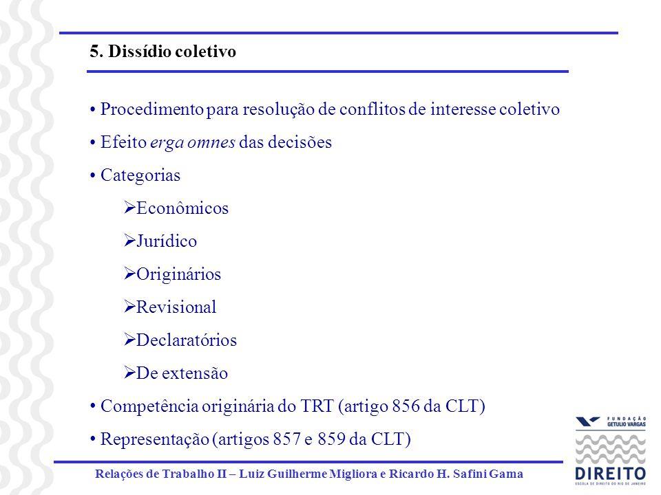 Relações de Trabalho II – Luiz Guilherme Migliora e Ricardo H. Safini Gama 5. Dissídio coletivo Procedimento para resolução de conflitos de interesse