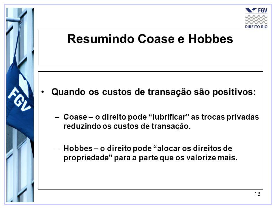 13 Resumindo Coase e Hobbes Quando os custos de transação são positivos: –Coase – o direito pode lubrificar as trocas privadas reduzindo os custos de