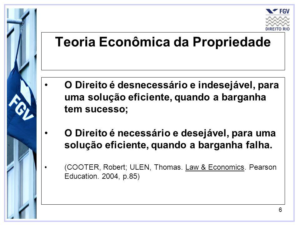 6 Teoria Econômica da Propriedade O Direito é desnecessário e indesejável, para uma solução eficiente, quando a barganha tem sucesso; O Direito é nece