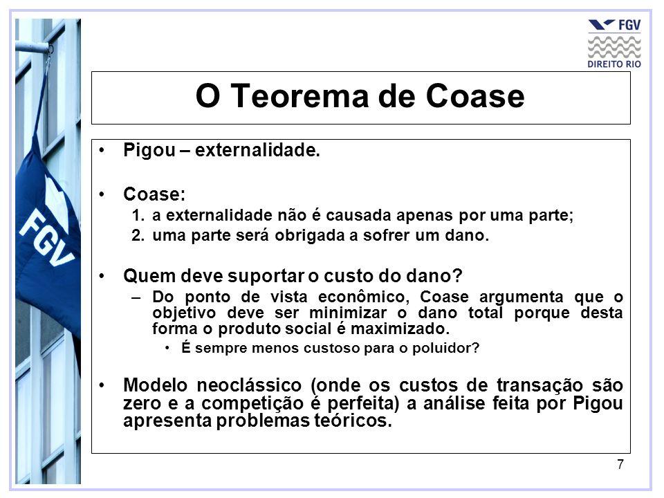 7 O Teorema de Coase Pigou – externalidade. Coase: 1.a externalidade não é causada apenas por uma parte; 2.uma parte será obrigada a sofrer um dano. Q
