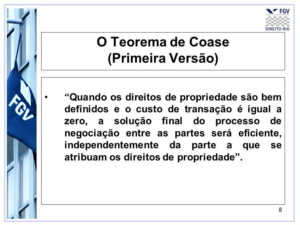 8 O Teorema de Coase (Primeira Versão) Quando os direitos de propriedade são bem definidos e o custo de transação é igual a zero, a solução final do p