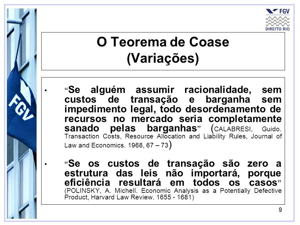 9 O Teorema de Coase (Variações) Se alguém assumir racionalidade, sem custos de transação e barganha sem impedimento legal, todo desordenamento de rec