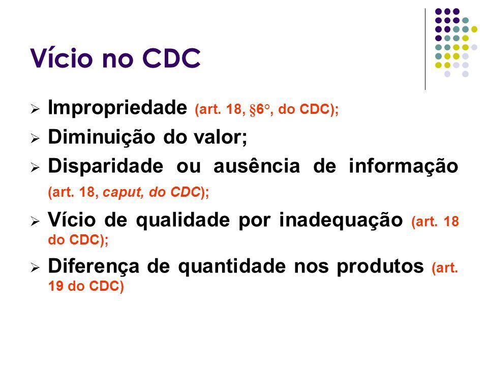 Vício no CDC Impropriedade (art. 18, §6°, do CDC); Diminuição do valor; Disparidade ou ausência de informação (art. 18, caput, do CDC); Vício de quali