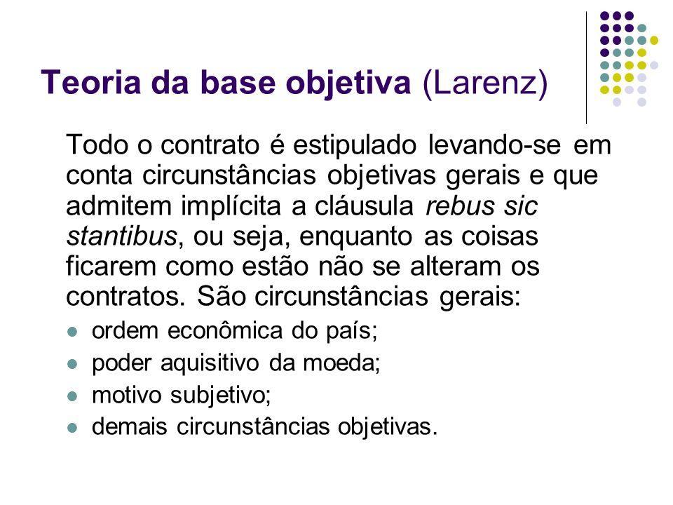 Teoria da base objetiva (Larenz) Todo o contrato é estipulado levando-se em conta circunstâncias objetivas gerais e que admitem implícita a cláusula r