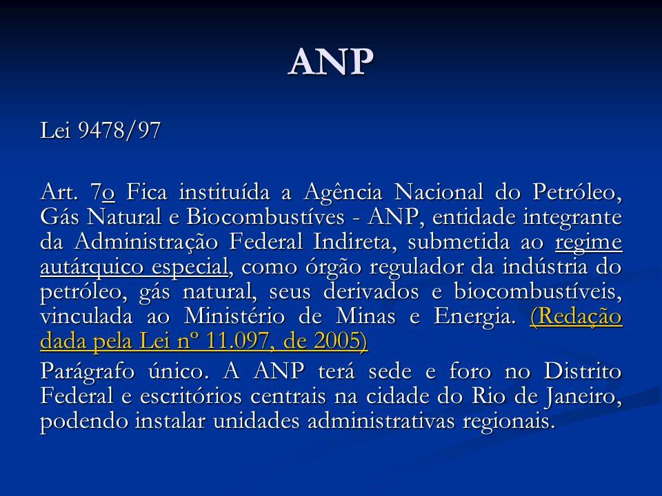 ANP Lei 9478/97 Art. 7o Fica instituída a Agência Nacional do Petróleo, Gás Natural e Biocombustíves - ANP, entidade integrante da Administração Feder