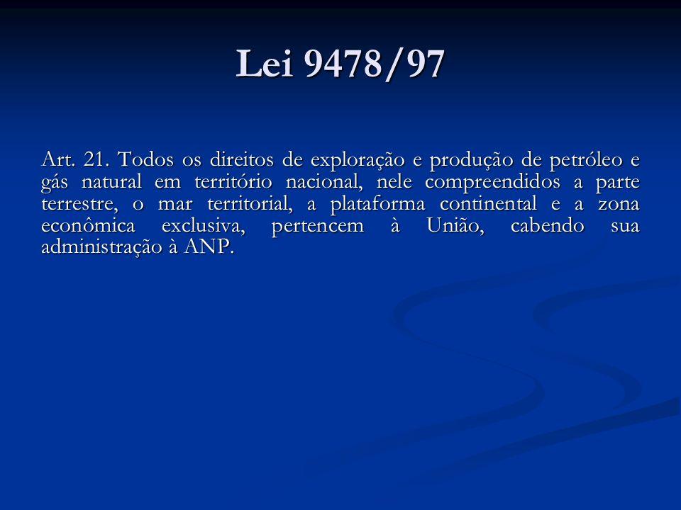 Lei 9478/97 Art. 21. Todos os direitos de exploração e produção de petróleo e gás natural em território nacional, nele compreendidos a parte terrestre
