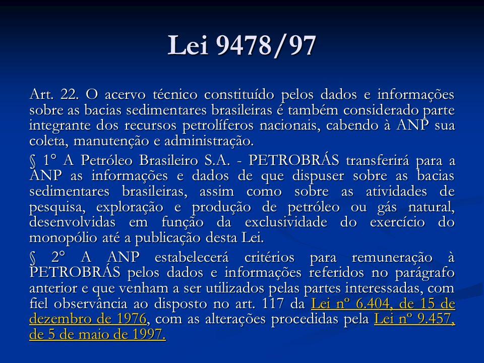 Lei 9478/97 Art. 22. O acervo técnico constituído pelos dados e informações sobre as bacias sedimentares brasileiras é também considerado parte integr
