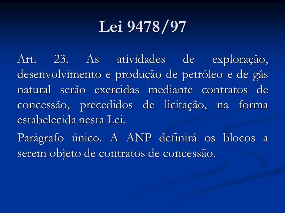 Lei 9478/97 Art. 23. As atividades de exploração, desenvolvimento e produção de petróleo e de gás natural serão exercidas mediante contratos de conces