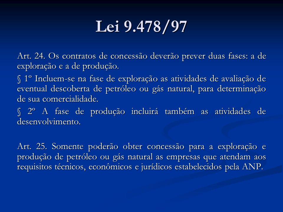 Lei 9.478/97 Art. 24. Os contratos de concessão deverão prever duas fases: a de exploração e a de produção. § 1º Incluem-se na fase de exploração as a