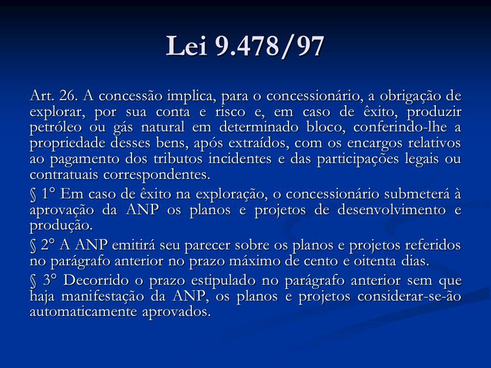 Lei 9.478/97 Art. 26. A concessão implica, para o concessionário, a obrigação de explorar, por sua conta e risco e, em caso de êxito, produzir petróle