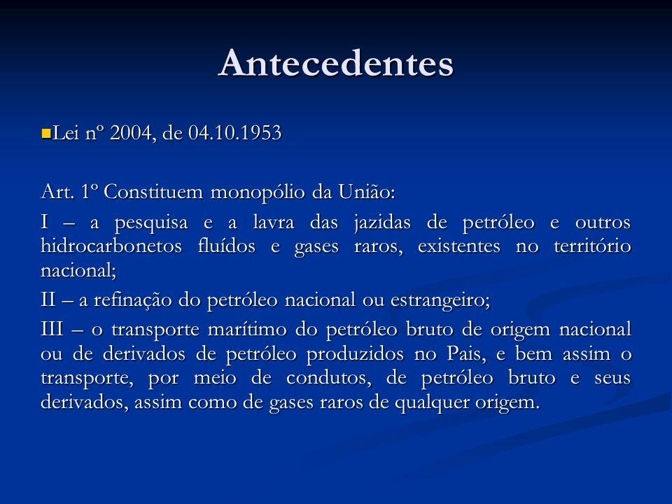 Antecedentes Lei nº 2004, de 04.10.1953 Lei nº 2004, de 04.10.1953 Art. 1º Constituem monopólio da União: I – a pesquisa e a lavra das jazidas de petr