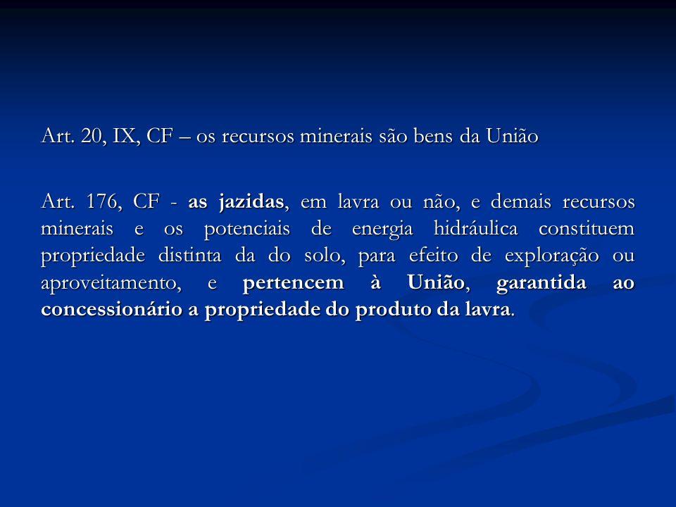 Art. 20, IX, CF – os recursos minerais são bens da União Art. 176, CF - as jazidas, em lavra ou não, e demais recursos minerais e os potenciais de ene