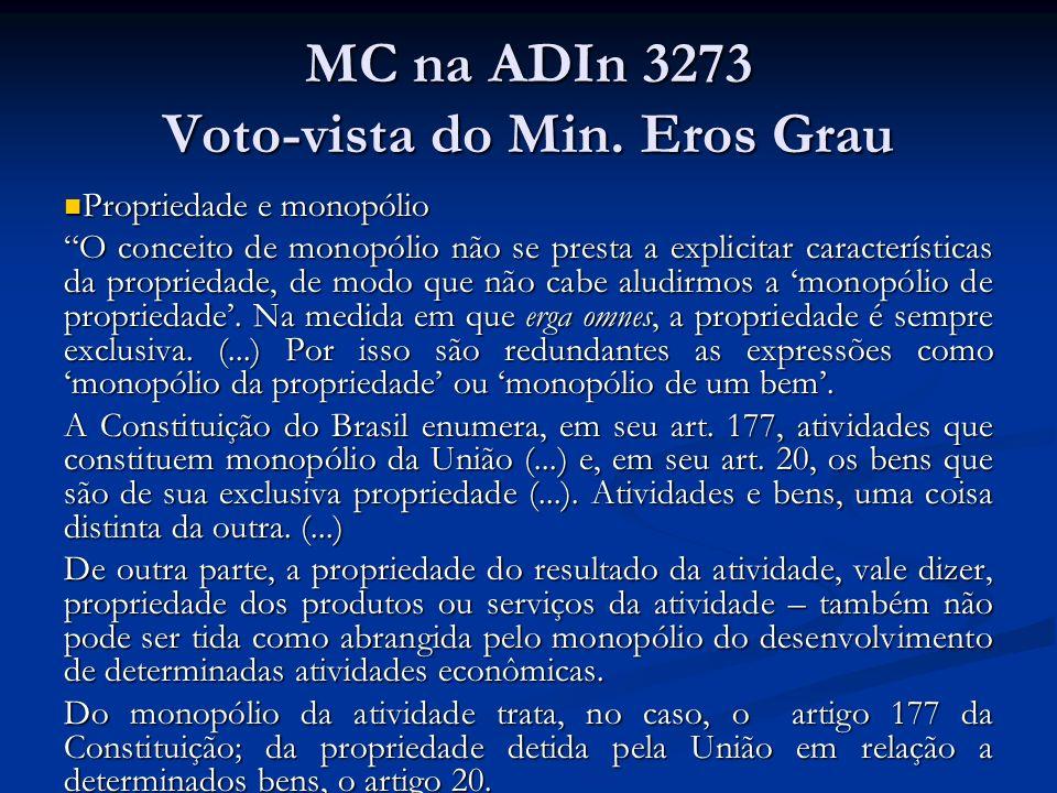 MC na ADIn 3273 Voto-vista do Min. Eros Grau Propriedade e monopólio Propriedade e monopólio O conceito de monopólio não se presta a explicitar caract
