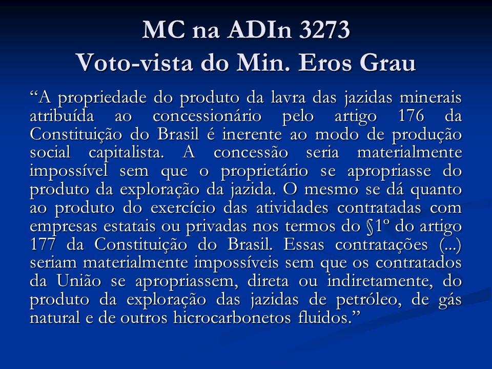 MC na ADIn 3273 Voto-vista do Min. Eros Grau A propriedade do produto da lavra das jazidas minerais atribuída ao concessionário pelo artigo 176 da Con