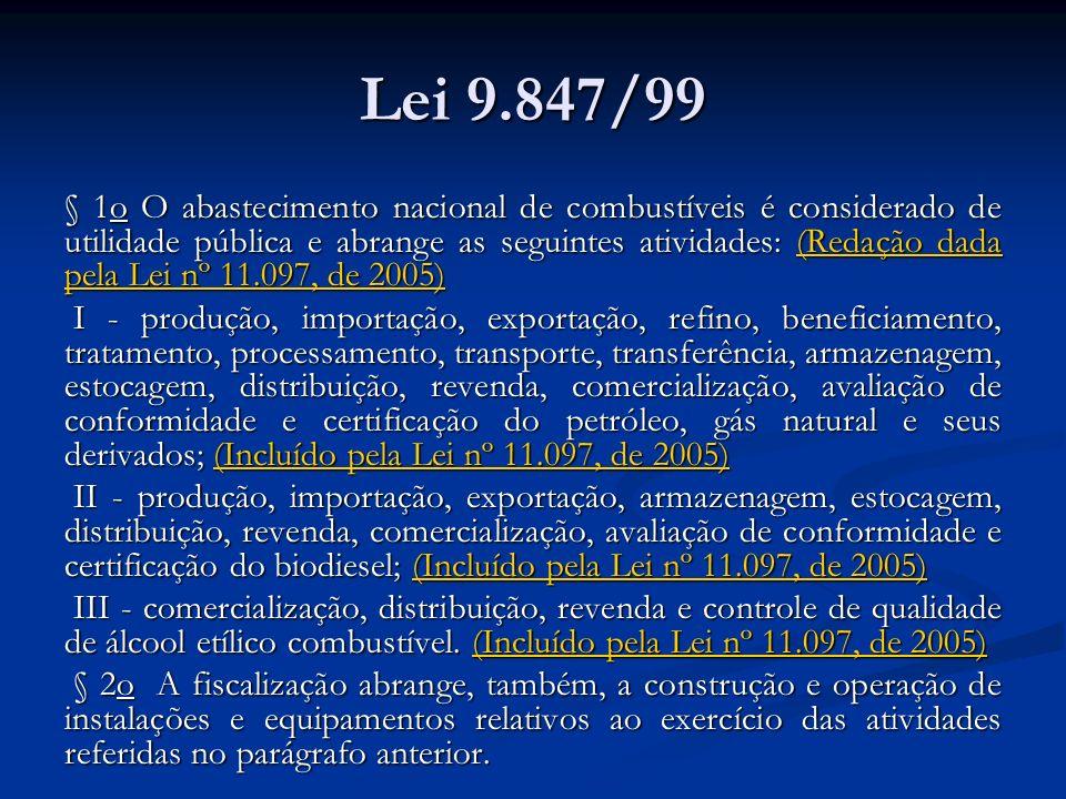 Lei 9.847/99 § 1o O abastecimento nacional de combustíveis é considerado de utilidade pública e abrange as seguintes atividades: (Redação dada pela Le