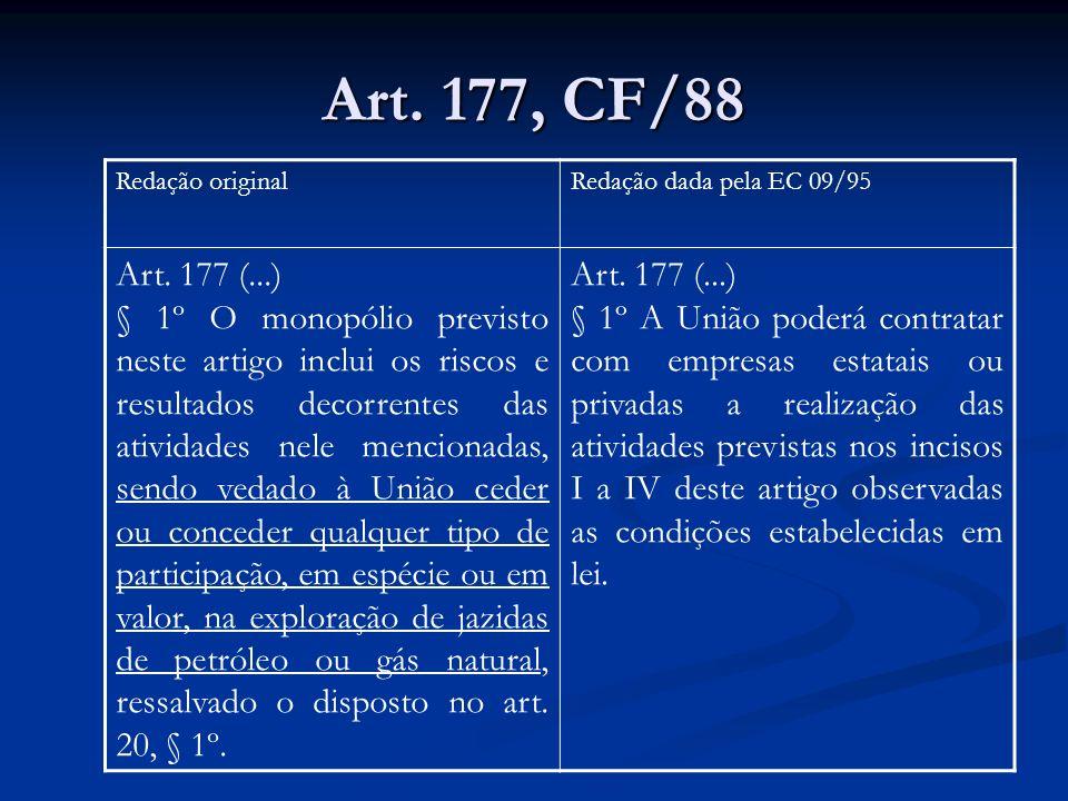 Art. 177, CF/88 Redação originalRedação dada pela EC 09/95 Art. 177 (...) § 1º O monopólio previsto neste artigo inclui os riscos e resultados decorre