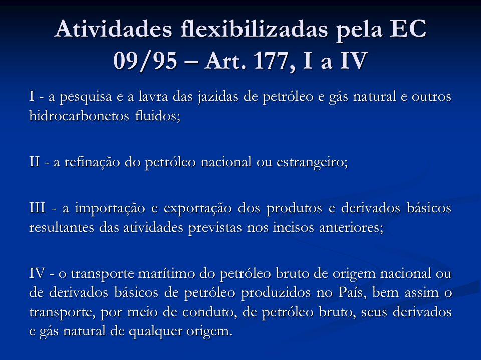 Atividades flexibilizadas pela EC 09/95 – Art. 177, I a IV I - a pesquisa e a lavra das jazidas de petróleo e gás natural e outros hidrocarbonetos flu