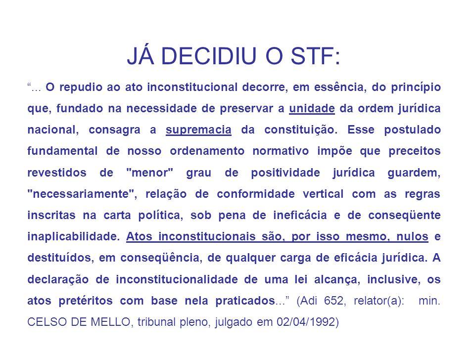 JÁ DECIDIU O STF:... O repudio ao ato inconstitucional decorre, em essência, do princípio que, fundado na necessidade de preservar a unidade da ordem