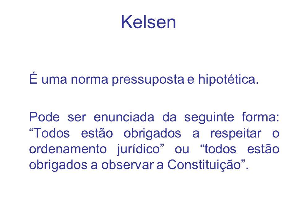 Kelsen É uma norma pressuposta e hipotética. Pode ser enunciada da seguinte forma: Todos estão obrigados a respeitar o ordenamento jurídico ou todos e