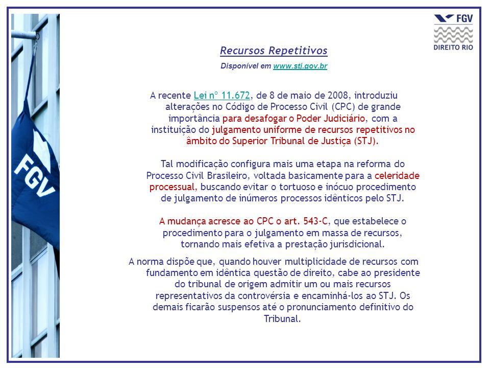 Recursos Repetitivos Disponível em www.stj.gov.brwww.stj.gov.br A recente Lei nº 11.672, de 8 de maio de 2008, introduziu alterações no Código de Proc