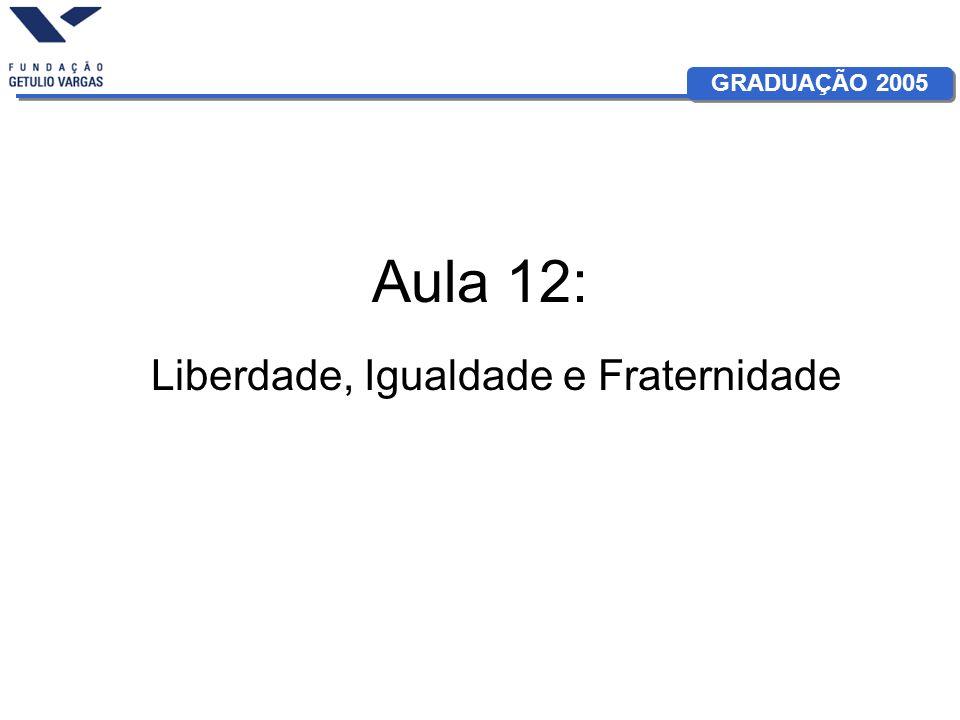 GRADUAÇÃO 2005 Aula 12: Liberdade, Igualdade e Fraternidade