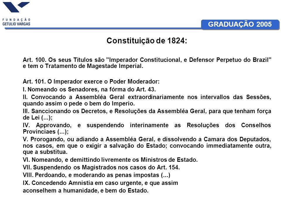 GRADUAÇÃO 2005 Constituição de 1824: Art. 100. Os seus Titulos são