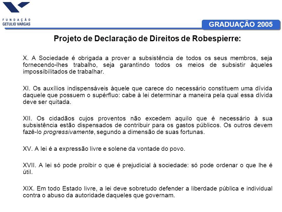 GRADUAÇÃO 2005 Projeto de Declaração de Direitos de Robespierre: X. A Sociedade é obrigada a prover a subsistência de todos os seus membros, seja forn