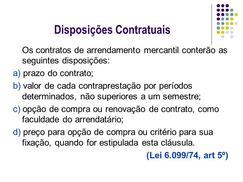 Disposições Contratuais Os contratos de arrendamento mercantil conterão as seguintes disposições: a) prazo do contrato; b) valor de cada contraprestaç