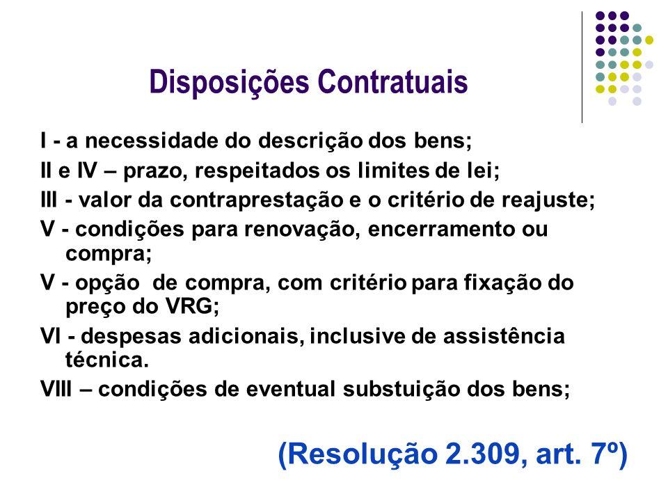 Disposições Contratuais I - a necessidade do descrição dos bens; II e IV – prazo, respeitados os limites de lei; III - valor da contraprestação e o cr