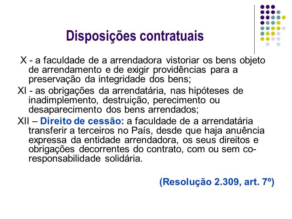 Disposições contratuais X - a faculdade de a arrendadora vistoriar os bens objeto de arrendamento e de exigir providências para a preservação da integ
