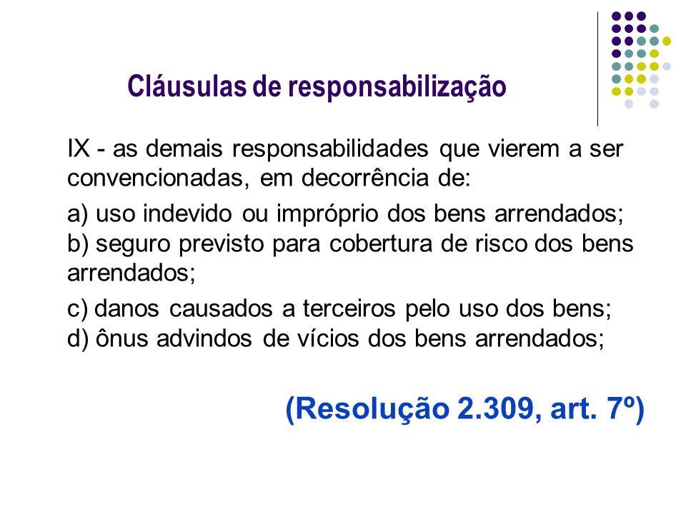 Cláusulas de responsabilização IX - as demais responsabilidades que vierem a ser convencionadas, em decorrência de: a) uso indevido ou impróprio dos b