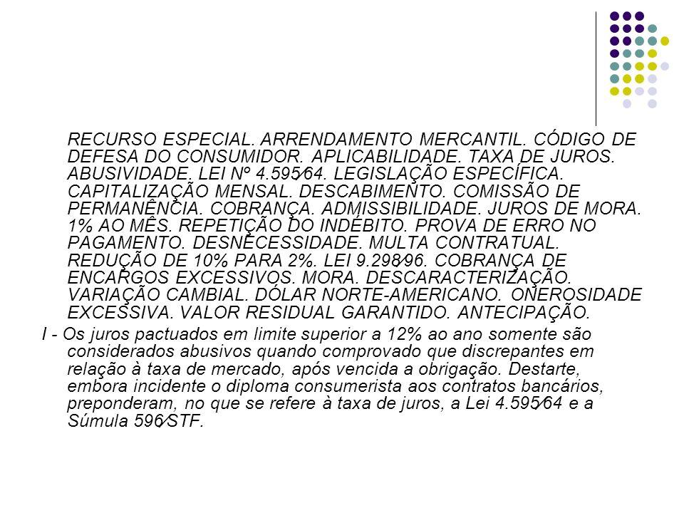 RECURSO ESPECIAL. ARRENDAMENTO MERCANTIL. CÓDIGO DE DEFESA DO CONSUMIDOR. APLICABILIDADE. TAXA DE JUROS. ABUSIVIDADE. LEI Nº 4.59564. LEGISLAÇÃO ESPEC