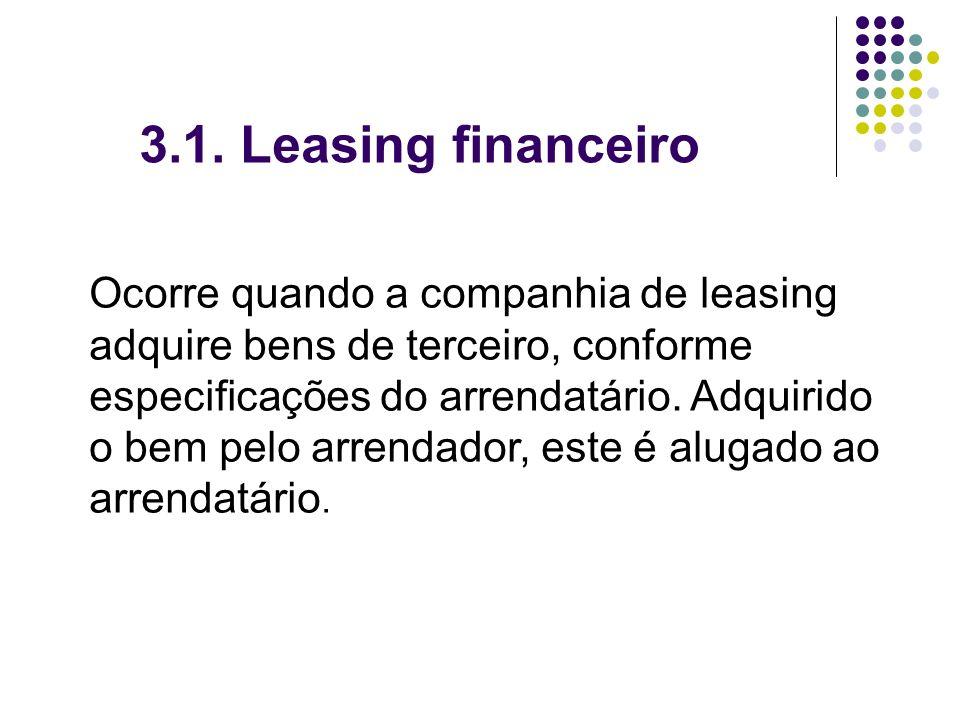3.1. Leasing financeiro Ocorre quando a companhia de leasing adquire bens de terceiro, conforme especificações do arrendatário. Adquirido o bem pelo a