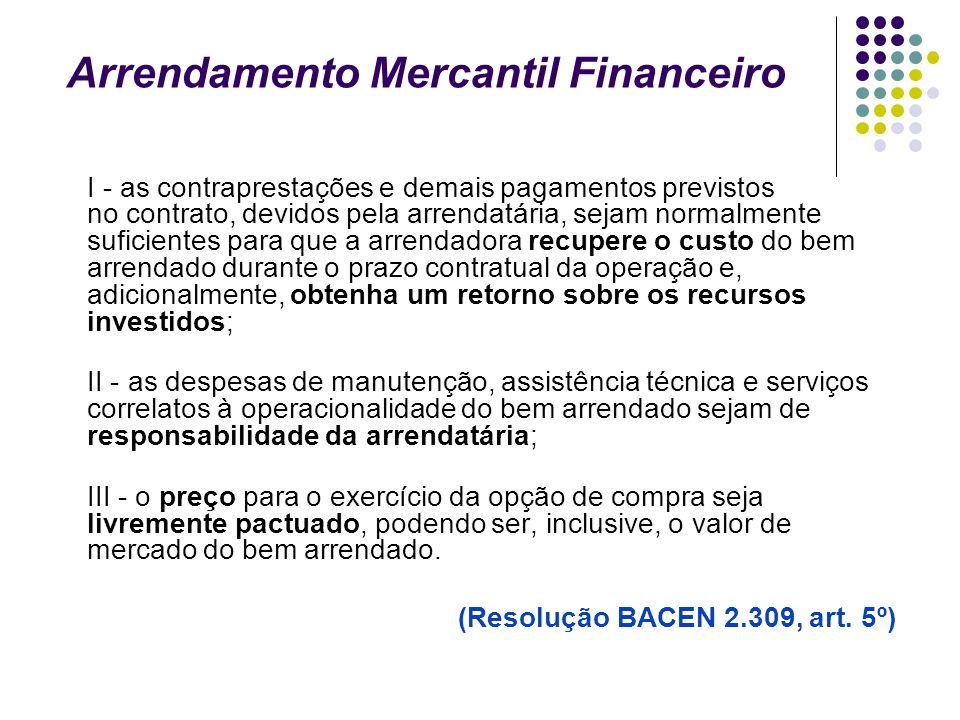 Arrendamento Mercantil Financeiro I - as contraprestações e demais pagamentos previstos no contrato, devidos pela arrendatária, sejam normalmente sufi
