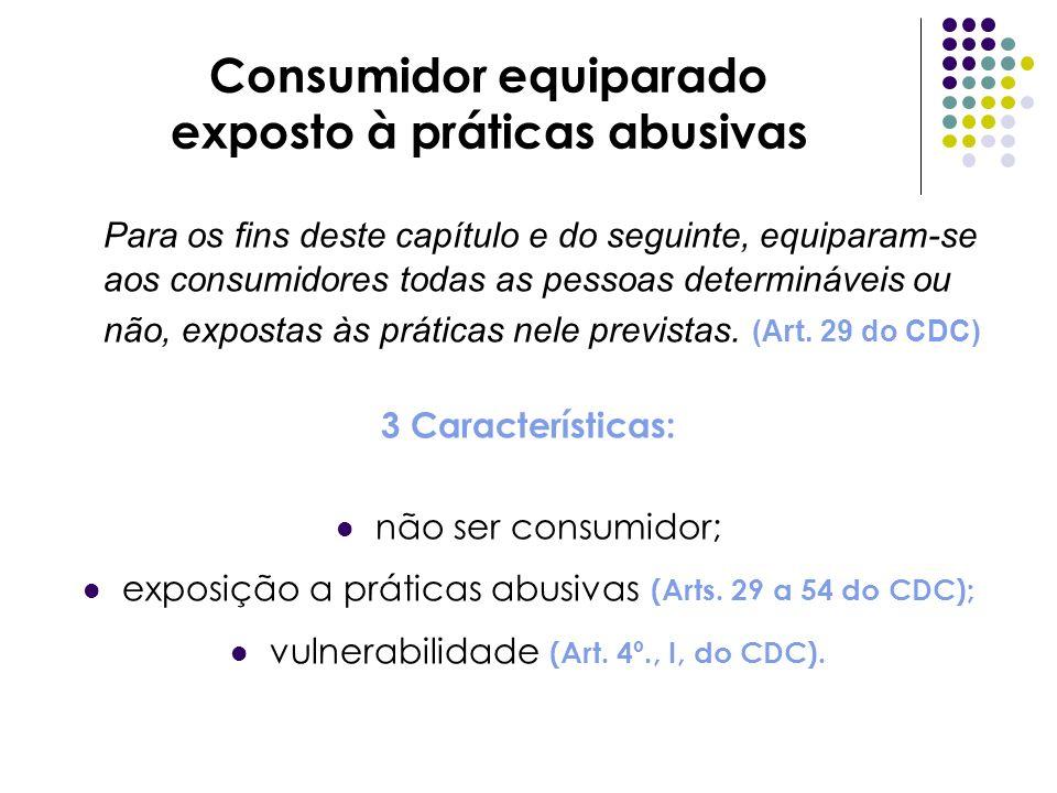 Consumidor equiparado exposto à práticas abusivas Para os fins deste capítulo e do seguinte, equiparam-se aos consumidores todas as pessoas determináv