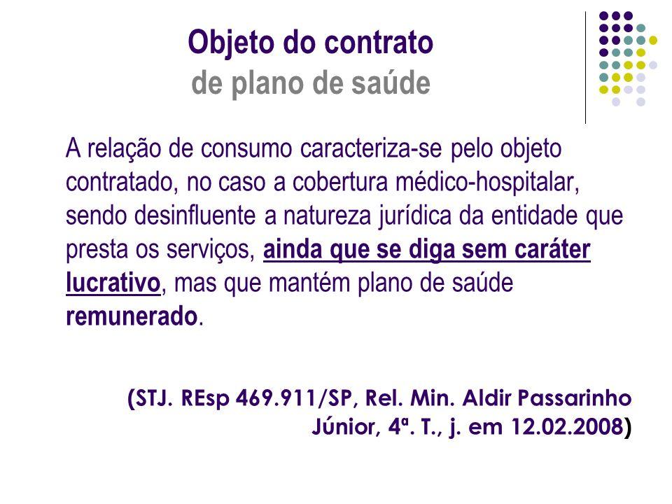 Objeto do contrato de plano de saúde A relação de consumo caracteriza-se pelo objeto contratado, no caso a cobertura médico-hospitalar, sendo desinflu
