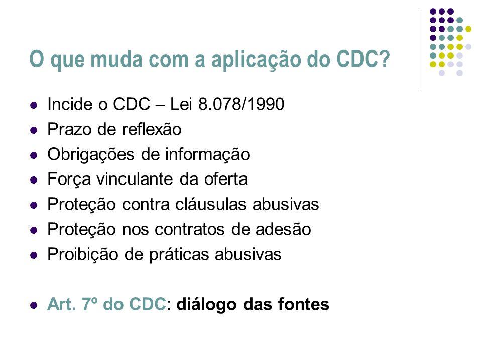 O que muda com a aplicação do CDC? Incide o CDC – Lei 8.078/1990 Prazo de reflexão Obrigações de informação Força vinculante da oferta Proteção contra