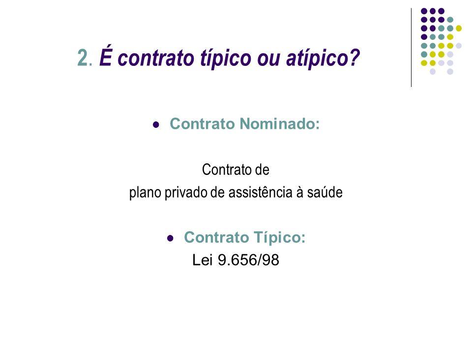 2. É contrato típico ou atípico? Contrato Nominado: Contrato de plano privado de assistência à saúde Contrato Típico: Lei 9.656/98